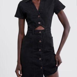 Zara Denim Cutout Shirtdress